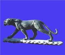 Animal Tiger Stone Sculpture, Black Granite Sculpture
