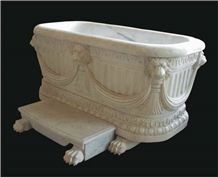 Pharaon - Empire Style Bath Tub, Calacatta Golden White Marble