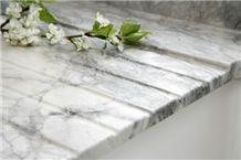 Kitchen Countertops, Eclipsia Bianca Drainage Groo, Bianco Uliano White Marble