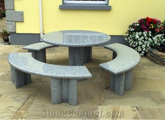 Garden Furniture Outdoor Granite Stone Table Grey Granite