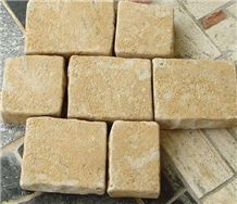 China Tumbled Yellow Limestone Cube Stone/Cobble Stone for Stepping Paverment