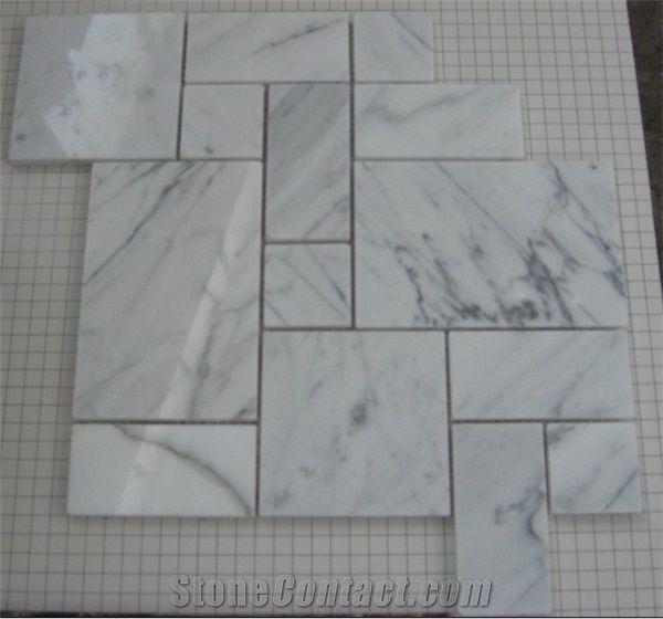 Carrara White Marble Versailles Mosaic Pattern Carrara