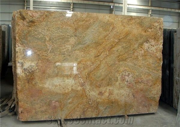 Wszystkie nowe Imperial Gold Granite Slab, India Yellow Granite from China-173676 NF67