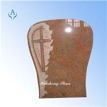 Christ Headstone, Multicolor Red Granite
