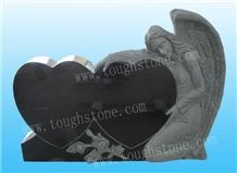 Black Granite Angel Tombstone, Shanxi Black Granite Headstone with Angel Design