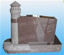 Imperial Red Tower Design Headstone, Imeprial Red Granite Headstone