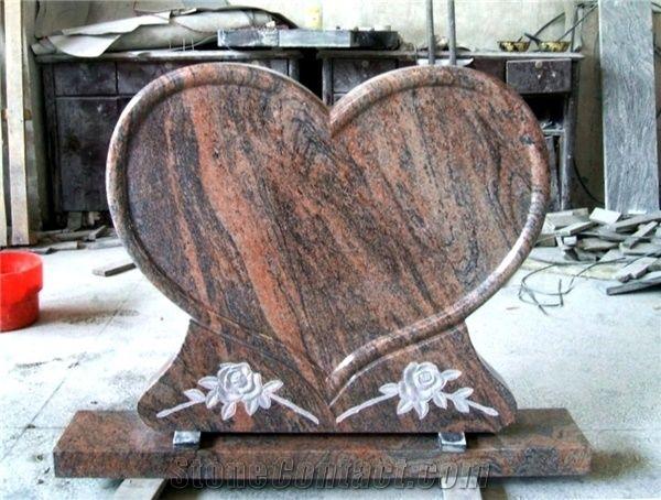 Heart Shape Granite Headstone Design Red Granite