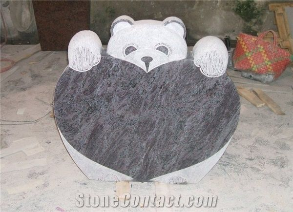 Teddy Bear Headstone Lilac Granite Headstone From China
