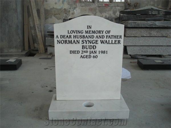 White Jade Marble Headstone From China Stonecontact Com