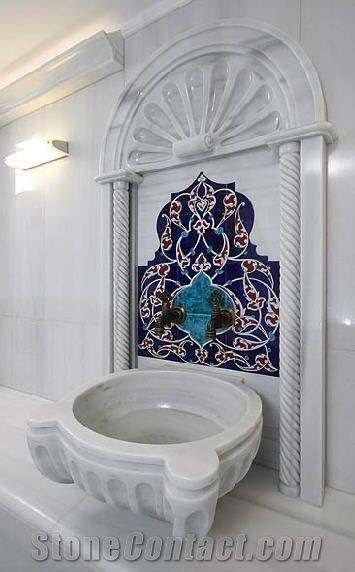 Turkish Bath Basin Kurna Marmara White Marble From