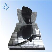 France Monument Tombstone, Shanxi Black Granite Wave S Black Granite