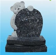 Blue Pearl Granite Gravestone in Teddy Bear Design, Teddy Bear Headstone, Teddy Bear Gravestone
