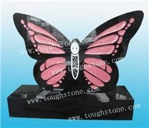 Engraved Butterfly Cemetery Headstone, Shanxi Black Granite Tombstone with Angel Design, Butterfly Gravestone