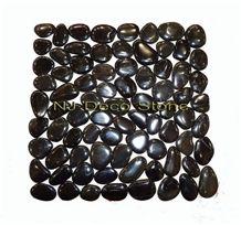 Black Pebble Tile Mosaic, Pebble Black Marble Mosaic