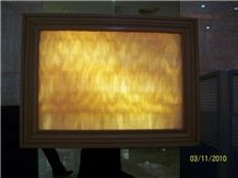 Backlit Honey Onyx Glass Tiles