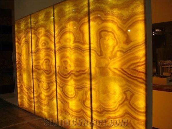 Backlit Lighting Honey Onyx Niche Wall