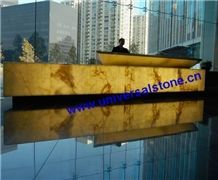 Backlit Onyx Reception Desk, Yellow Onyx Office Meeting Tables