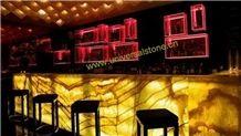 Backlit Orange Onyx Glass Bar Tops