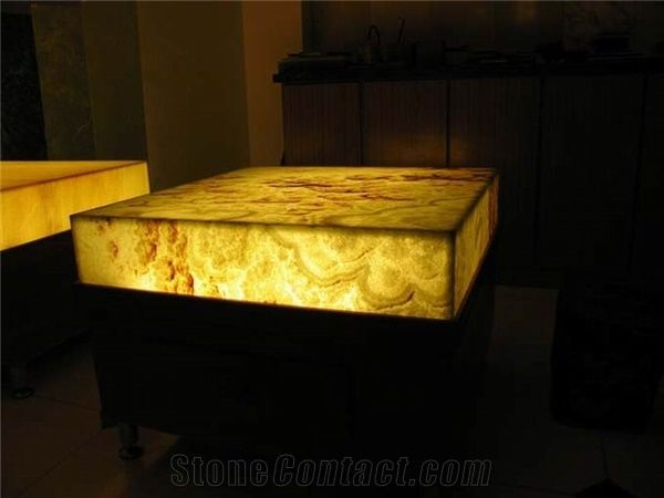 Backlit Orange Onyx Glass Kitchen Countertop From China