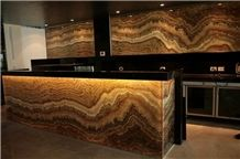 Backlit Tiger Vein Onyx Glass Bar Top from China ...
