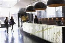 Backlit White Onyx Glass Bar Tops