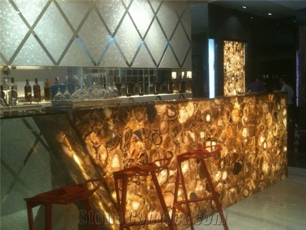 Backlit Yellow Semi Precious Stone Onyx Bar Top From China