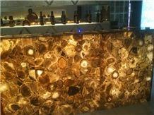 Brown Agate Semiprecious Stone Bar Top