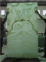 Green Jade Onyx Glass Panel Backlit (J87)