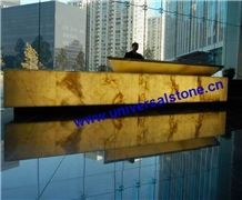 Translucent White Onyx Glass Reception Desk