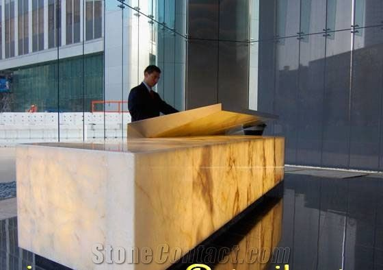 White Onyx Reception Desk Backlit J052 From China