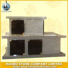 Chinese Factory 5 Crypts G603 Grey Granite and Shanxi Black Granite Columbarium, Cemetery Mausoleum