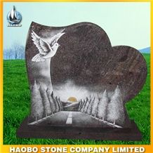 Line Carving Headstone Heart Headstone