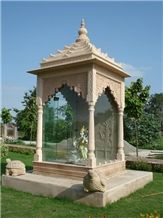 Stone Carved Temple, Bansi Pink Sandstone Artifacts, Handcrafts