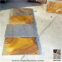 Cheap Price Chinese Peacock Rustic Slate Patio Flooring Tiles, Multicolor Rusty Slate Patio Paving, Factory Supply Cheap Rustic Slate Patio Flooring Tiles