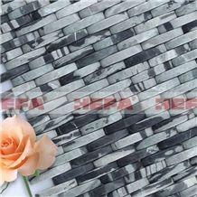 Black and White Wavy Wall Tiles XMD026J3, Hua an Jade Marble Mosaic