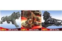 Jade Lion & Tiger Statue, Hua an Jade/Ink Jade Green Marble Artifacts, Handcrafts