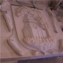 Coat Of Arms, Gris Perla Crema Beige Granite Relief, Etching