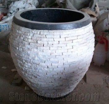 Small Slate Flower Pot White Slate Flower Pot From China