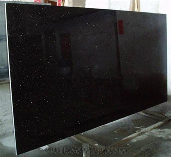 Indian Black Galaxy Granite Slab Good Price From China
