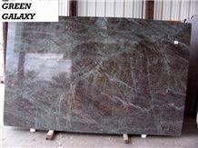 Polished Green Galaxy Granite Slab(own Factory)