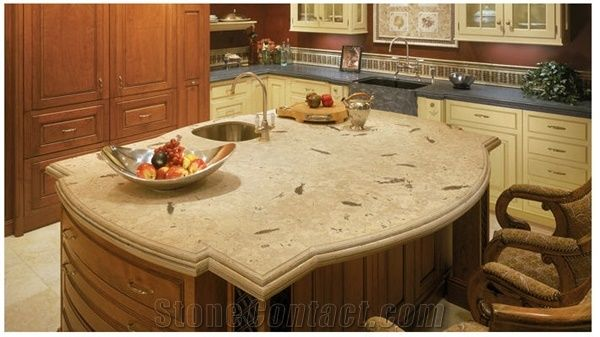 Fossil Stone Countertops, Beige Limestone Countertops from United ...
