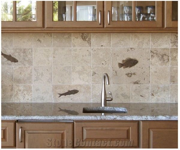 Honed Fossil Stone Relief Tile Backsplashes, Beige Limestone Kitchen  Accessories