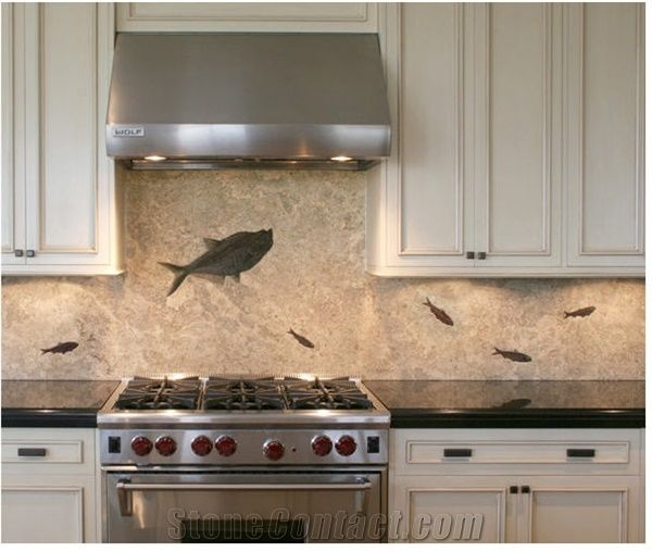 river rock backsplash kitchen honed slab backsplash with fossils prepared in rel beige 4848