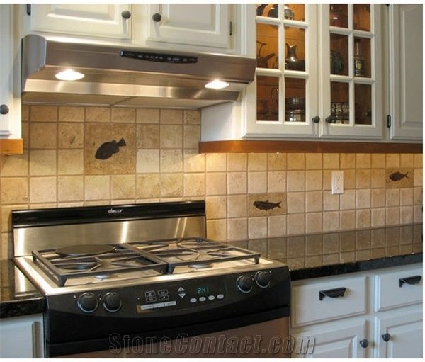 Delicieux Travertine Tiles With Fossil Stone Tiles Backsplas, Beige Travertine Kitchen  Accessories