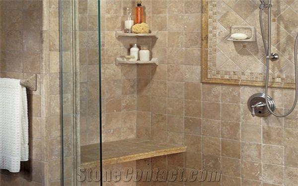 Antiqueted Travertine Tiles Bath Design, Travertine Tile Bathroom Shower