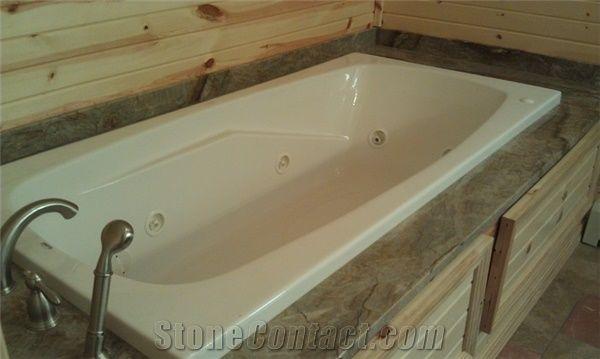 Wild Dream Quartzite Bath Tub Deck Wild Dream Green