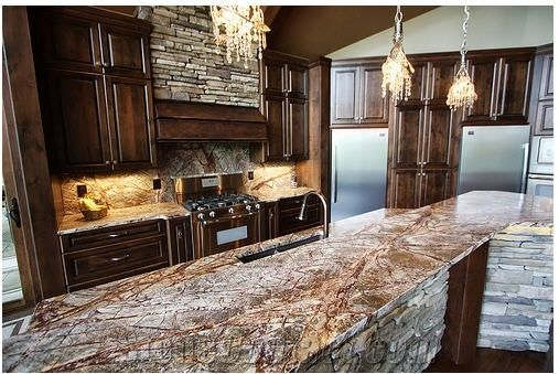 rain forest green marble kitchen countertop