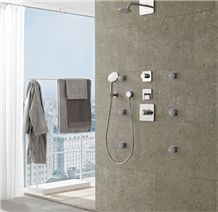 Grigio Argento Limestone Shower Wall Tiles, Italy Grey Limestone