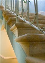 San Gottardo Giallo Dorato Limestone Stairs, San Gottardo Giallo Dorato Beige Limestone Stairs