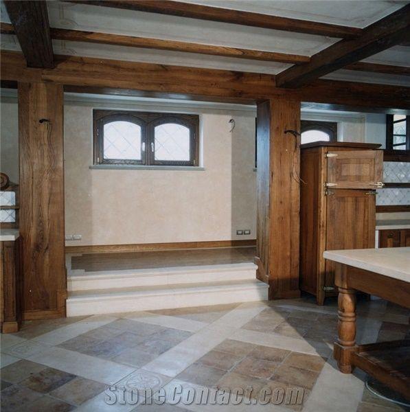 Brushed Chiampo Rosato Al Contro Limestone Kitchen Floor Tiles, Italy Pink  Limestone